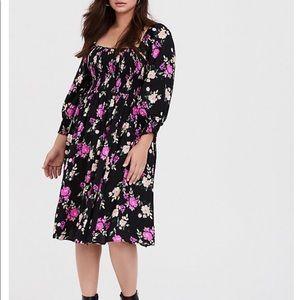 Torrid Women's Black Floral Challis Smoked Dress